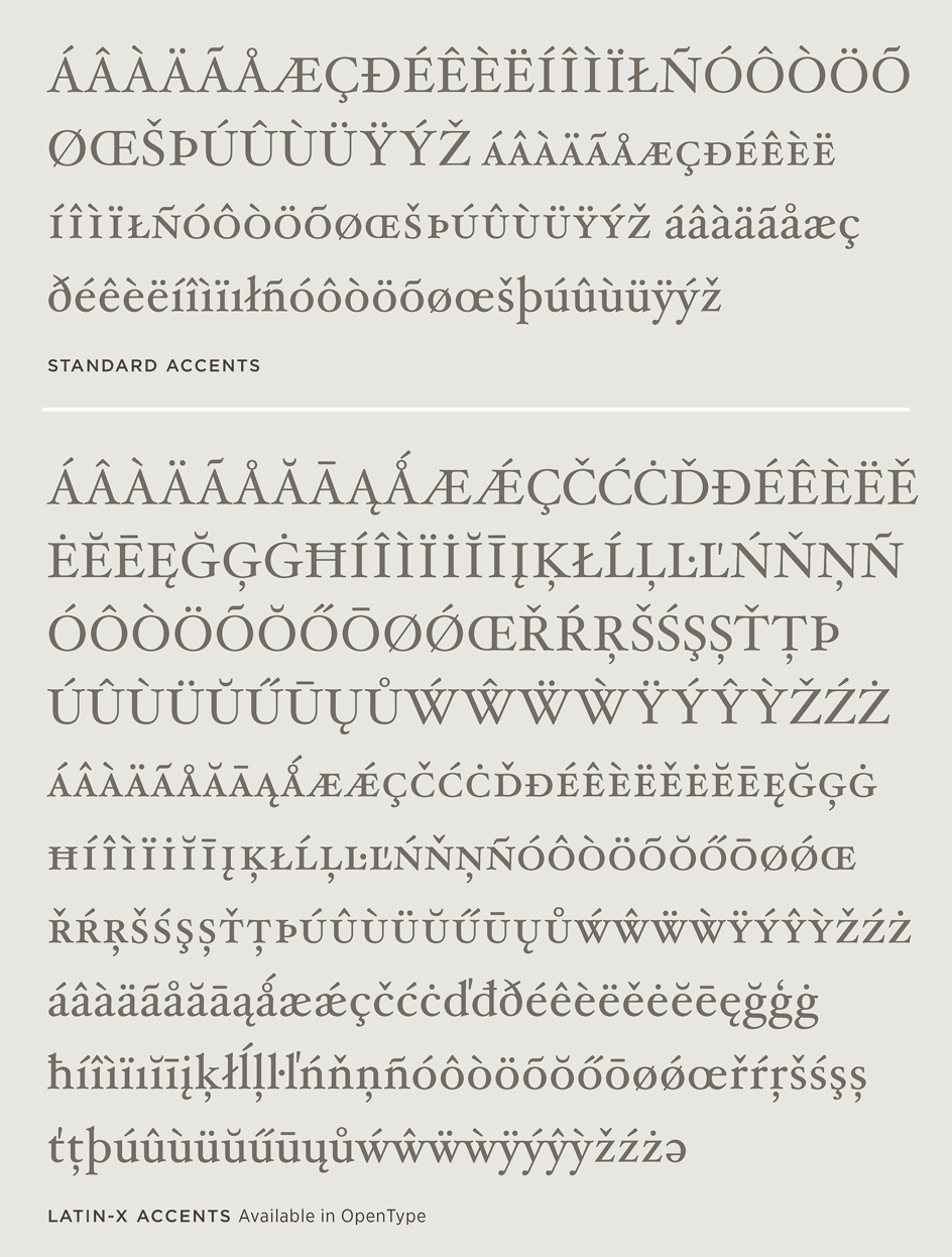Hoefler Text: Latin-X Character Set