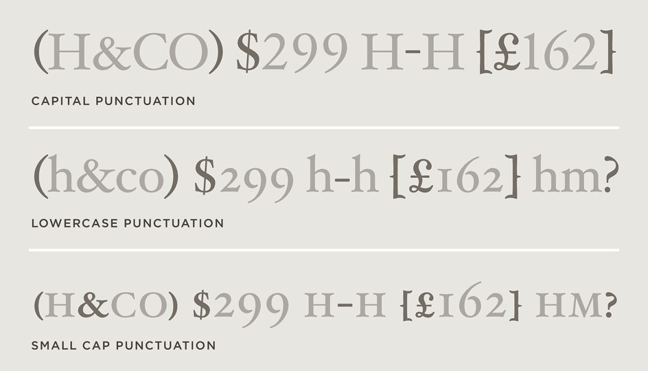 Hoefler Text Contextual Punctuation