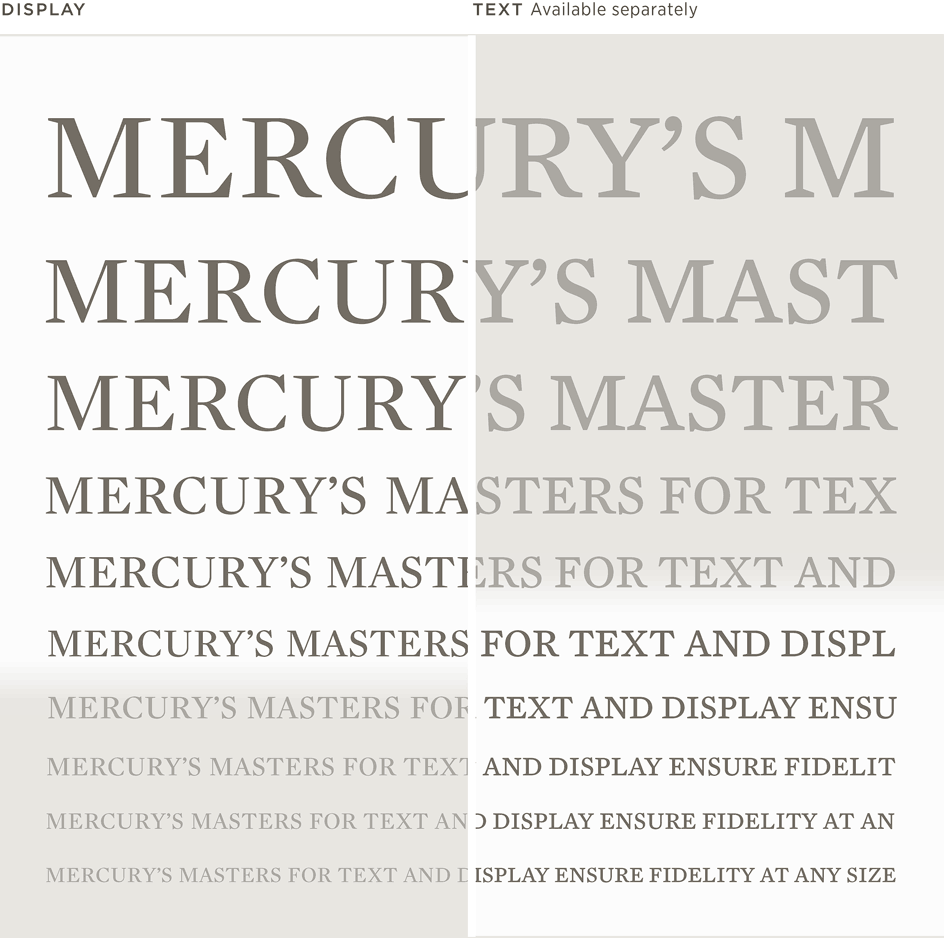 Mercury Display and Text: Waterfall